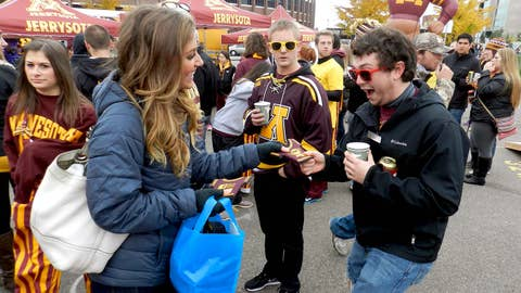 Jennifer Helped Minnesota students get excited by handing out FOX Sports North Girls Coozies!