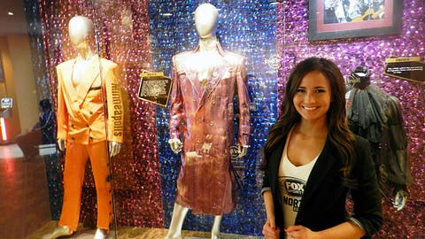 "As a huge Minnesota music & Vikings fan, Prince's ""Purple Rain"" jacket at the Hard Rock was quite the find for Angie."