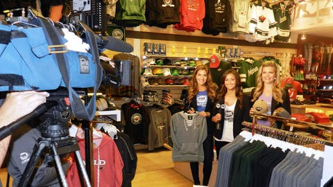 Kendall, Angie & Jennifer filmed a segment from Hockey Minnesota showing off their favorite team items.