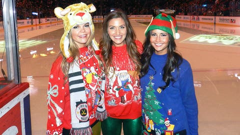 Angie, Jennifer and Kendall joined in the holiday spirit by attending Ugly Sweater Night with the Minnesota Wild!