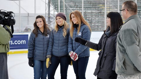 Angie, Kendall and Jennifer tape a segment welcoming fans to the 9th Annual Hockey Day Minnesota coverage.