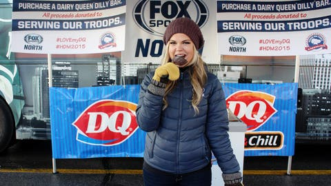Kendall enjoys a Dilly Bar on a balmy January day. The FOX Sports North Girls raised almost $800 selling the ice cream treats, with all proceeds going to Serving Our Troops. Our thanks to Dairy Queen for generously donating the Dilly Bars.