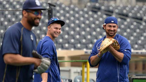 Old teammates share a laugh