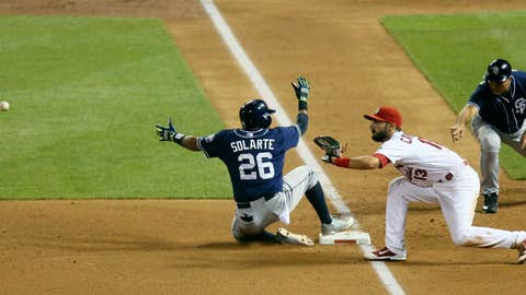 Solarte slides into third with a triple