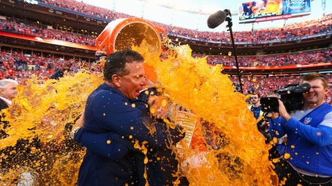 What Color will the Gatorade (or liquid) be that is dumped on the Head Coach of the Winning Super Bowl Team?
