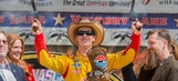 Dominant Logano survives late caution for win