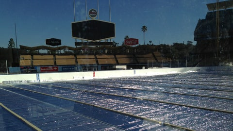 General view of the rink build for the 2014 Coors Light NHL Stadium Series game on January 15, 2014 at Dodger Stadium.