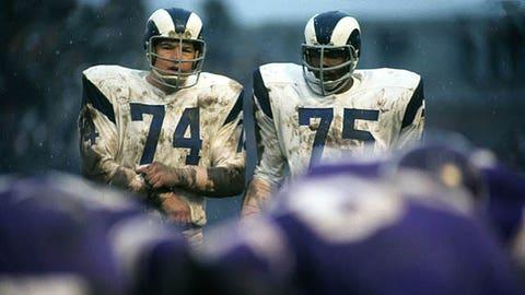 Merlin Olsen, DT, 1962-76, and Deacon Jones, DE, 1961-71