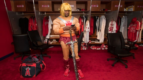 Angels rookies in costume for final road trip