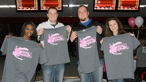 Representing the FOX Sports Wisconsin team on the lanes: Bishara, Danny, Ryan and Sage.