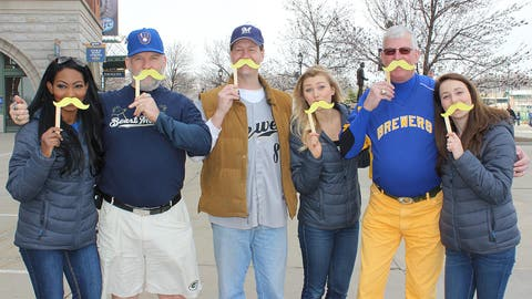 There's no better way to show your team pride than a Bernie Brewer mustache – just ask these guys!