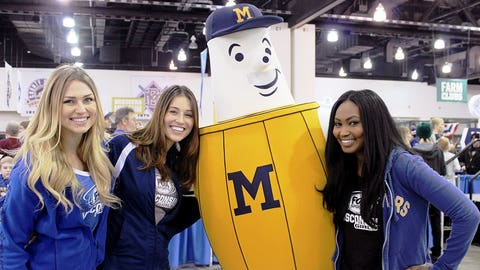 Roll out the barrel! The FOX Sports Girls meet the Brewers new Barrel Man mascot.