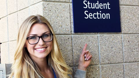 Chyna knows where to find the best seats in the house – the student section!