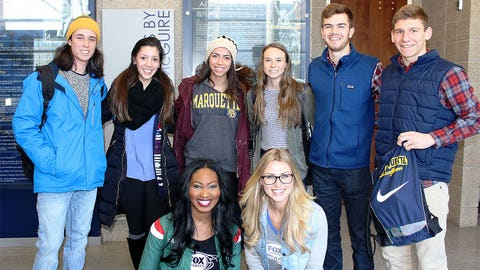 These Marquette students are excited to watch an NBA team practice on their campus.