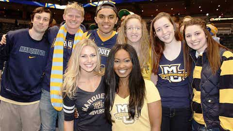 Hail alma mater… The FOX Sports Wisconsin Girls joined these fans for a MU tradition on Senior Day.