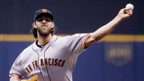 6. Madison Bumgarner, SP, San Francisco Giants (9-5, 3.33 ERA, 121 SO, 1.11 WHIP)