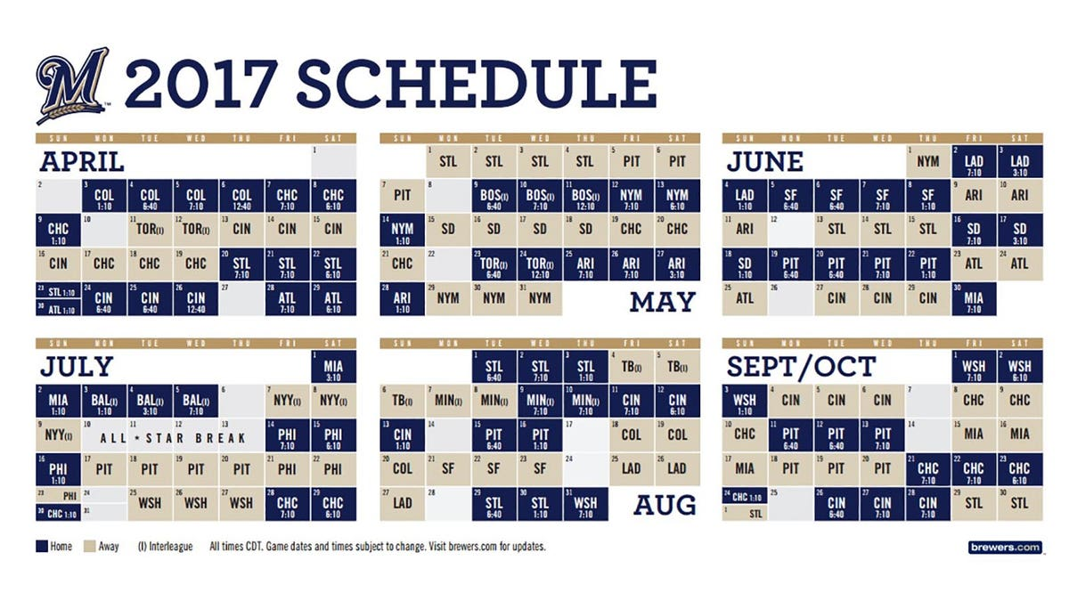 Brewers announce 2017 schedule, open at home | FOX Sports