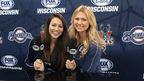 Chyna & Sage are ready to record their own Sports Update at our FOX Sports Wisconsin Be A Sports Anchor booth.