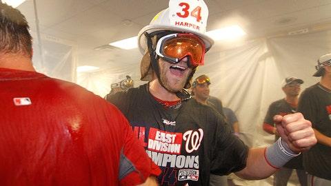 Nationals outfielder Bryce Harper rocked a firefighter hat