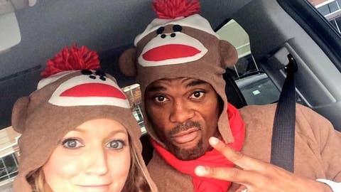 Bills' Fred and Danielle Jackson as sock monkeys