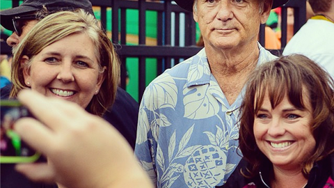 Bill Murray takes tickets at a minor league baseball game