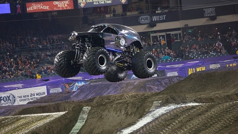 Monster Jam racing in Anaheim: New Earth Authority
