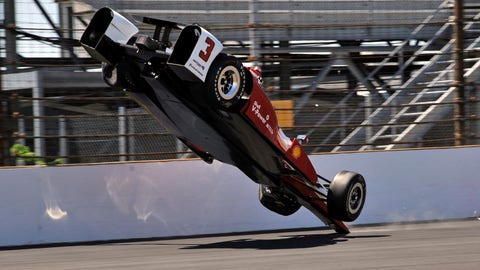 Flips during practice for the 2015 Indy 500