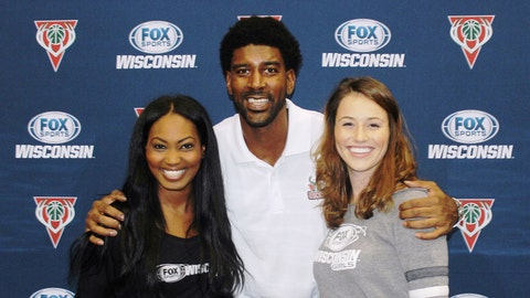 OJ Mayo tries his hand at broadcasting at the FOX Sports Wisconsin Be A Sports Anchor booth.
