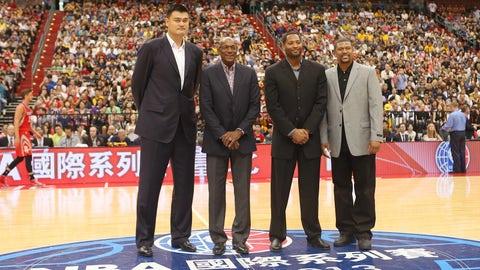 Yao Ming vs. Clyde Drexler, Robert Horry and Jalen Rose