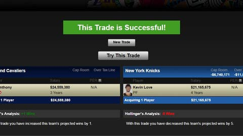Cavaliers receive Carmelo Anthony; Knicks receive Kevin Love