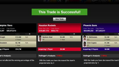 Rockets receive Nerlens Noel; 76ers receive Brandon Knight, Archie Goodwin; Suns receive K.J. McDaniels, Clint Capela, lottery-protected first-rounder (from HOU), second-rounder (from PHI)