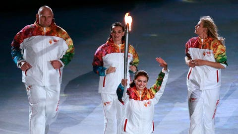 A Russian delegation of torchbearers