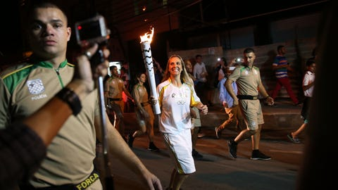 The Olympic torch is vandalized
