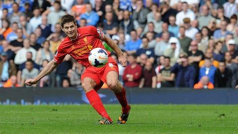 Steven Gerrard slips up during Liverpool's Premier League title run