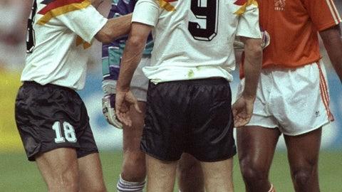 Frank Rijkaard spits at Rudi Voller at the 1990 World Cup
