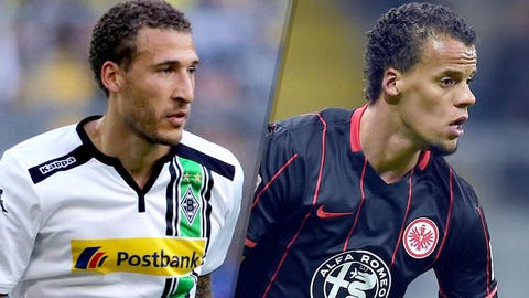 Fabian Johnson, Borussia Mönchengladbach midfielder and Timothy Chandler, Eintracht Frankfurt defender