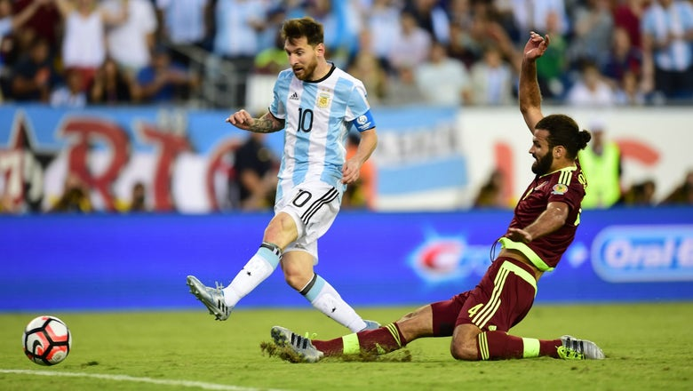 Watch Lionel Messi tie Argentina's all-time goalscoring record