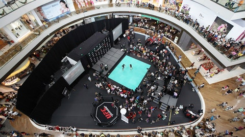 Aerial view of the UFC Singapore open workouts
