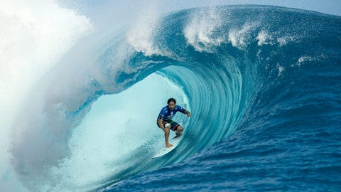 Shooting the curl in French Polynesia