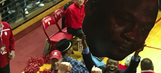 Isiah Thomas joyfully hoists Crying Jordan sign after Indiana beats UNC