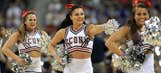 College basketball cheerleaders