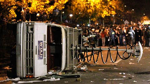 Penn State students flip van