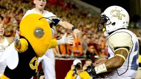 Georgia Tech Yellow Jackets running back Robert Godhigh (25) celebrates after scoring a touchdown