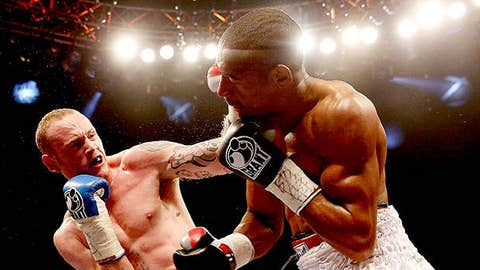 George Groves of England connects with Noe Gonzalez of Uruguay during their International Super Middleweight bout