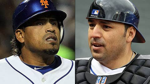 Speeding up: Henry Blanco and Rod Barajas, Mets