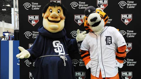 Mascots Swinging Friar & Paws