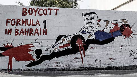 Graffiti against holding the upcoming Formula One Grand Prix in Bahrain in the village of Barbar, west of the capital Manama
