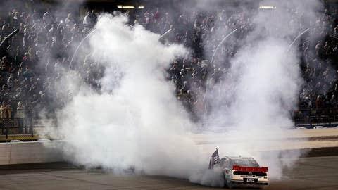 Brad Keselowski celebrates with a burnout after winning the NASCAR Nationwide Series
