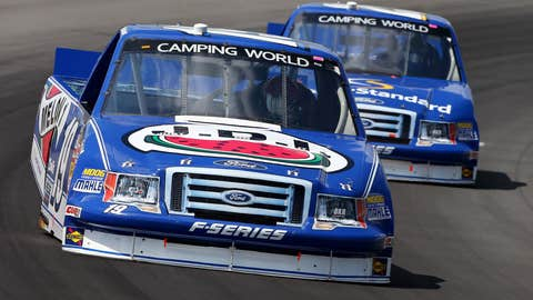 Ross Chastain leads Ryan Blaney during the NASCAR Camping World Truck Series