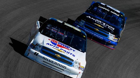Scott Riggs leads Ron Hornaday, but it's just practice